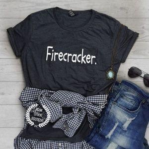 Firecracker Graphic TShirt Gray NEW NWT